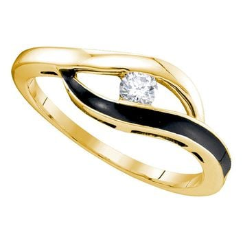 10kt Yellow Gold Womens Round Diamond Solitaire Black-tone Promise Bridal Ring 1/8 Cttw