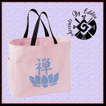Rhinestone Tote Bag Zen Yoga Lotus Flower Great for carrying anything Kanji ZEN Yoga Bling