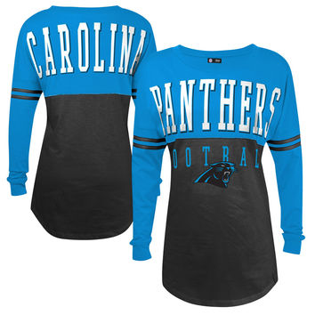 5th & Ocean by New Era Carolina Panthers Women's Black Baby Jersey Spirit Top Long Sleeve T-Shirt