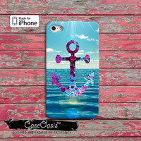Anchor Ocean Purple Blue Navy Inspired Custom iPhone 4 and 4s Case and Custom iPhone 5 and 5s and 5c Case