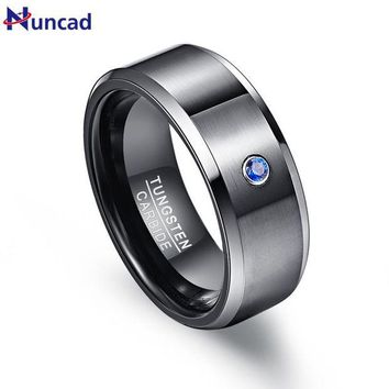 ac spbest Pierscienie 8mm Men Ring 100% Tungsten Carbide Zircon Black Wedding Bands Engagement Anillos para hombres