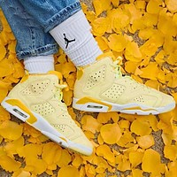 Air Jordan 6 Fashionable Women Sport Basketball Shoes Sneakers Yellow