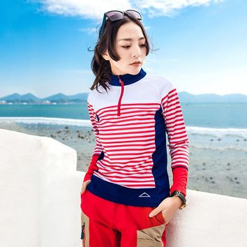 Women's Sailor's Striped Shirt Quick Dry Breathable Light Outdoor Sports Long Sleeve Hiking T-Shirt