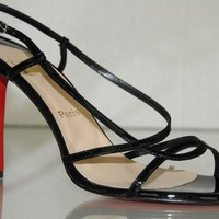 New Christian Louboutin Mimini Black Patent Strappy Sandals Shoes 40