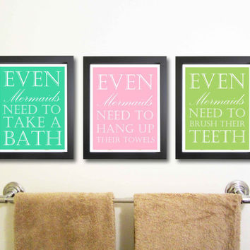 Children Decor, Nursery art print, 11 x 14 Mermaid Art, Bathroom Art, Typography Poster, Nursery wall quotes, print, Mermaid Kids Wall Art