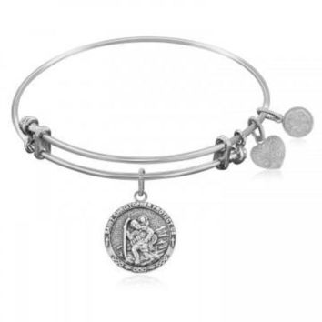 ac NOVQ2A Expandable Bangle in White Tone Brass with St. Christopher Protection Symbol