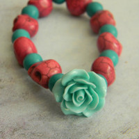 Sugar Skull Bracelet with Large Aqua Rose - Day of the Dead Inspired
