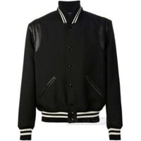 Indie Designs Saint laurent Inspired Black Leather-Trimmed Wool-Twill Varsity Jacket