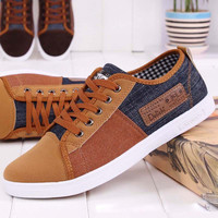 Casual Shoes new arrival plimsolls canvas shoes men breathable Fashion patchwork men's sneakers lace-up platform casual gumshoe RM-289