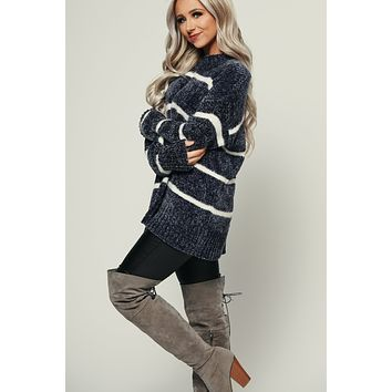 Numb To Love Chenille Sweater (Charcoal)