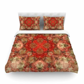 "Justyna Jaszke ""Mandala Love Art"" Red Pastel Abstract Pattern Digital Illustration Featherweight Duvet Cover"