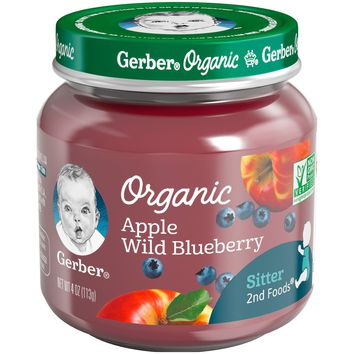 Gerber Organic 2nd Foods Baby Food Apple & Wild Blueberry - 4oz