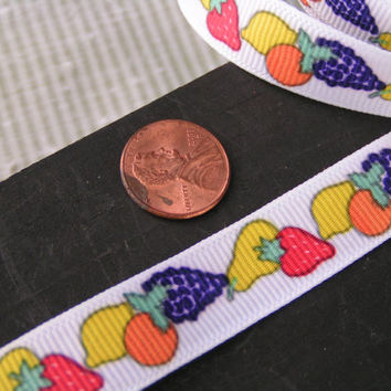 Fruit Grosgrain Ribbon, Purple Grapes, Yellow Lemon, Orange Orange, Yellow pear and Red Strawberry all on White Background