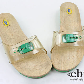Vintage 70s Clear Plastic Dr. Scholls Flats 9 Wooden Shoes Exercise Sandals size 9 70s Shoes 70s Sandals 1970s Sandals Exercise Flats