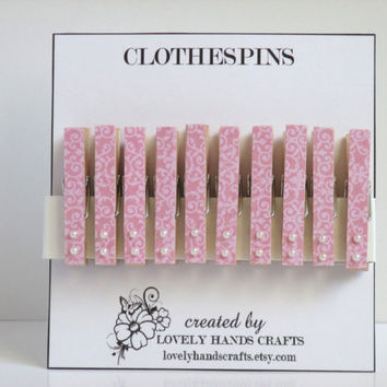 Mini - Pink and White Decorative Wooden Clothespins - Set of 10