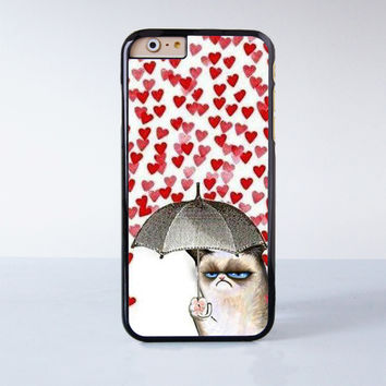 Grumpy Cat Love Umbrella Design Cute Plastic Case Cover for Apple iPhone 6 6 Plus 4 4s 5 5s 5c