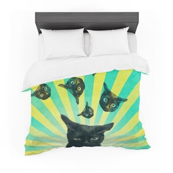 "Cvetelina Todorova ""Cat Explosion"" Yellow Green Featherweight Duvet Cover"