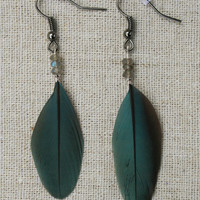 Blue macaw feather earrings with labradorite seed beads