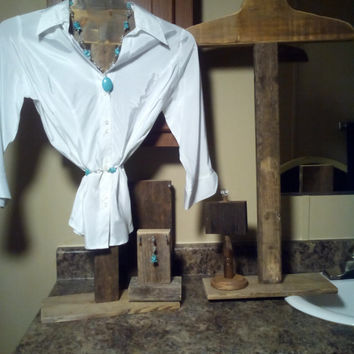 Rustic T-shirt display barnwood hanger farmhouse decor pop-up shop or boutique storefront wedding venue wholesale