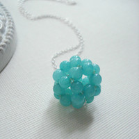Green Jade Cluster Necklace, Ball, Beaded, Sterling Silver, Modern, Teal, Gift For Her Under 50