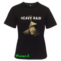 HEAVY RAIN T-Shirt video game women tshirt black short sleeve tee shirts S - XL