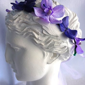 Orchid Flower Crown, Orchid Headband, Purple Headband, Hydrangea Flower Crown,Purple Flower headband, hydrangea headband, bridal hairpiece