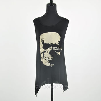 Individual Punk Skull Print Asymmetrical Hem Hollow Back Bottom Girl Shirt Tops Shirt E0514