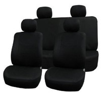 FH Group Universal Fit Full Set Flat Cloth Fabric Car Seat Cover, (Black) (FH-FB050114, Fit Most Car, Truck, Suv, or Van)