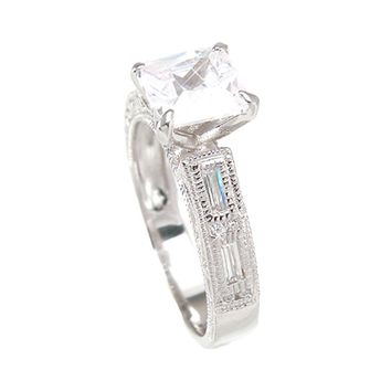 925 Sterlng Silver Antique Style Wedding Ring 1.25 Carat Weight - Size 9