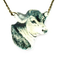Cow Bull Farm Animal Head Shaped Acrylic Illustrated Pendant Necklace | DOTOLY