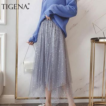 TIGENA Fashion Sequin Velvet Tulle Skirts Women 2019 Autumn High Waist Pleated Midi Long Skirts Female Asymmetrical Tutu Skirts