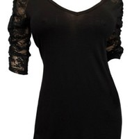 eVogues Plus Size Sexy Lace Accented Black Tunic Top
