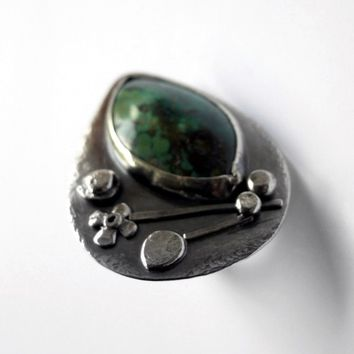 Green Turquoise Sterling Silver Statement Ring - Timeless Wearable Art