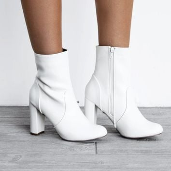 With You Again White Side Zipper Bootie