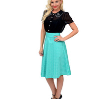 1950s Style Mint Green & White Dotted High Waist Swing Skirt