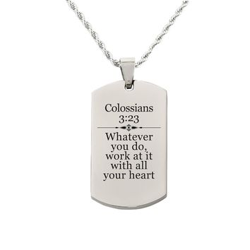Colossians 3:23 Tag Necklace