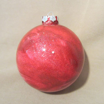 Vintage Hand-painted Large Glass Red & White Sparkle Christmas Tree Ornament, Holiday, Holiday Decor, Family, Gift, Tradition, Red and White