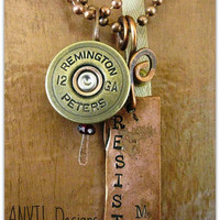 Shotgun Shell Necklace with Ruby Quartz 12 Gauge Remington Gun Powder and Lead