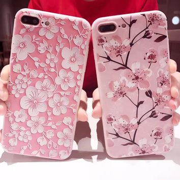 for Coque iPhone 6 Case for iPhone 6s 7 7Plus Cover Fashion Phone Cases White and Pink Cherry Blossoms Cartoon Cover Case