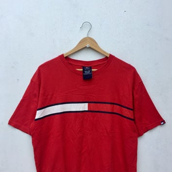 Sale 15% Vintage Rare TOMMY HILFIGER Red T-Shirt Tommy Line Streetwear Size S #129