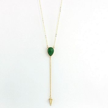 Green Natural Stone and Gold Arrow Head Lariat Necklace
