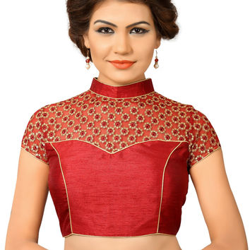 Saris and Things Maroon Net Fancy Back Open Saree Blouse Choli SNT-X-400-MAROON