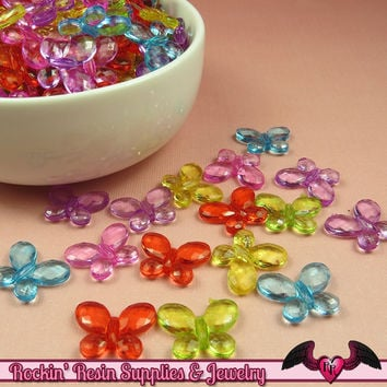 BUTTERFLY Faceted Acrylic Beads Transparent Mixed Colors 17x13mm (50 pieces)