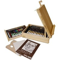 "US Art Supply® 62-Piece Wood Box Easel Painting Set- Including Box Easel, 12-tubes of Oil Paint Colors, 12-Oil Pastels, Plastic Palette Knife, 3 Assorted Oil Painting Brushes, 2 - 8"" x 10"" Canvas Panels, 9"" x 12"" Sketch Pad, 12-tubes of Acrylic Paint Color"