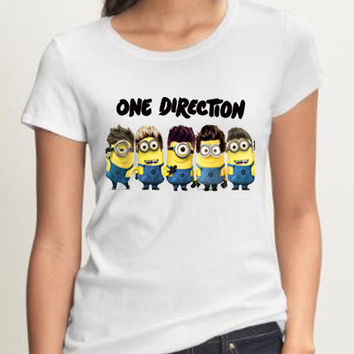 New Minion One Direction 1D Despicable Me 2 Funny Minion Women Black White T Shirt - D04
