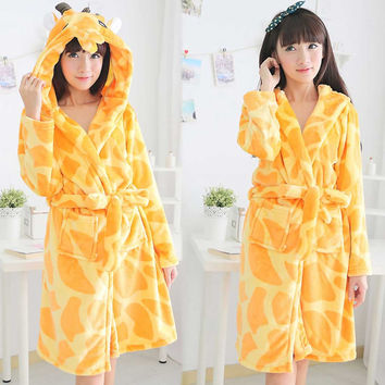 Yellow Giraffe Bath Robe