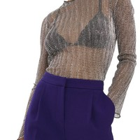 Topshop Chainmail Lettuce Edge Sheer Top | Nordstrom