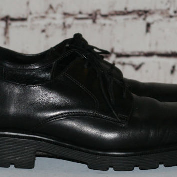 40% OFF 90s Dr Martens Oxfords Leather Chunky us 7 uk 8 Mininalist Grunge Hipster cyber Goth Festival black boots shoes square toe loafers l
