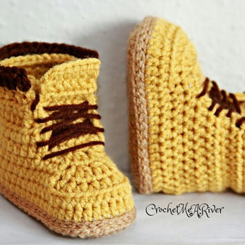 """Crochet Timberland boots, combat """"Woodsman"""" FINISHED product only (0-3, 3-6, 6-12, and 12-18 months available)"""