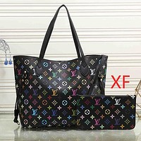 Louis Vuitton Women Fashion Leather Handbag Wallet Purse Set Two Piece